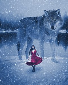 Wolf Woman in Snow